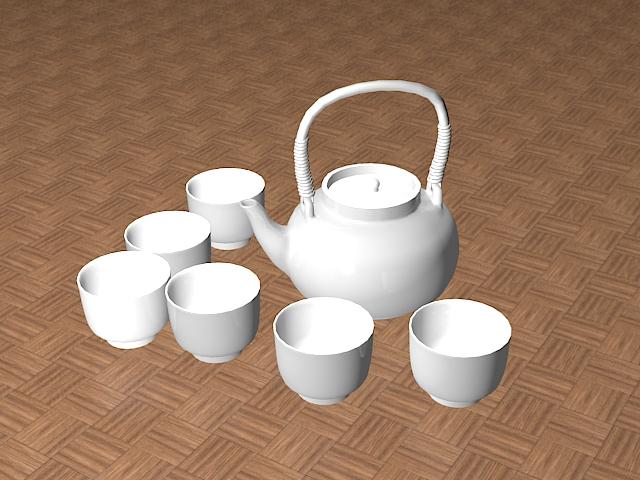 White Ceramic Tea Set 3d model