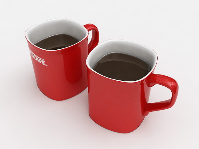 Two Cups of Coffee 3d model