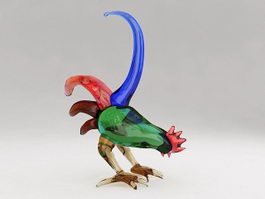 Colorful Rooster Figurine 3d model