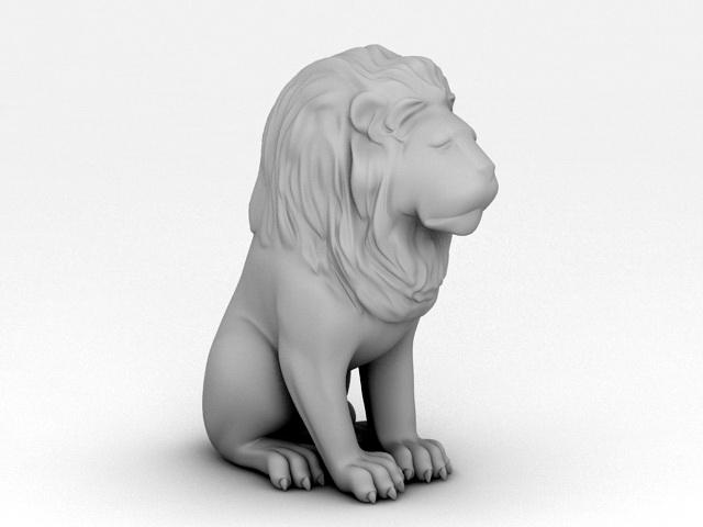 Sitting Lion Statue 3d model