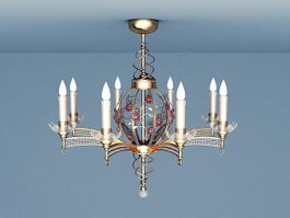 Classic Bronze Chandelier 3d model