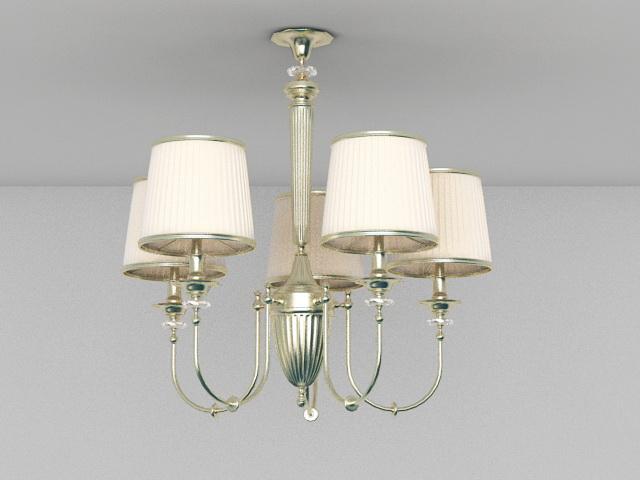 Colonial Brass Chandelier 3d model