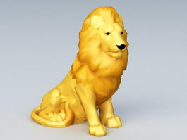Seated Lion Sculpture 3d model
