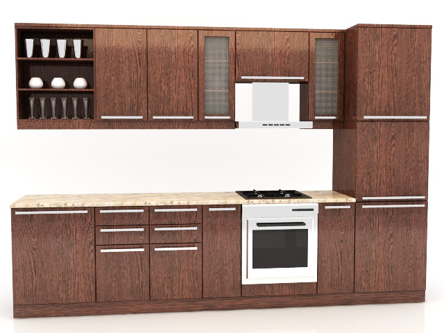 Straight Line Kitchen Design 3d model
