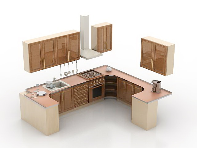 Small g shaped kitchen design 3d model 3d studio 3ds max - Kitchen design software free download 3d ...