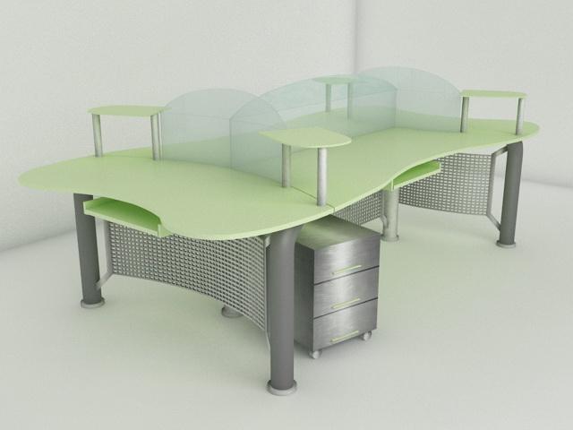 Modern Office Workstation 3d model