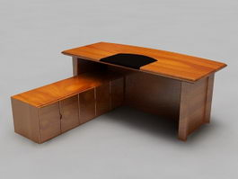 Rustic L-shaped Executive Desk 3d model