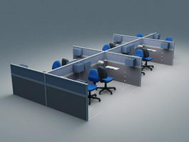 Office Cubicle Workstations 3d model