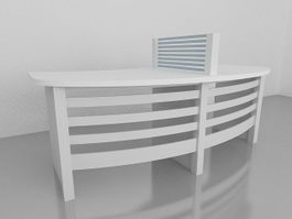 Two-Person Home Office Workstation 3d model