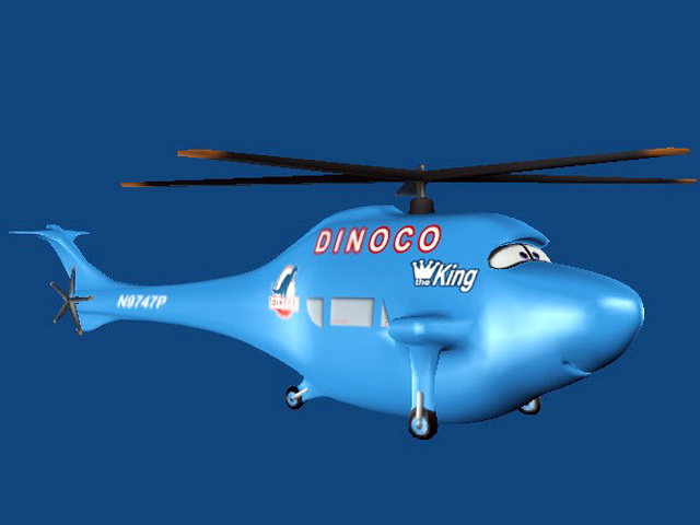 Blue Cartoon Helicopter 3d model