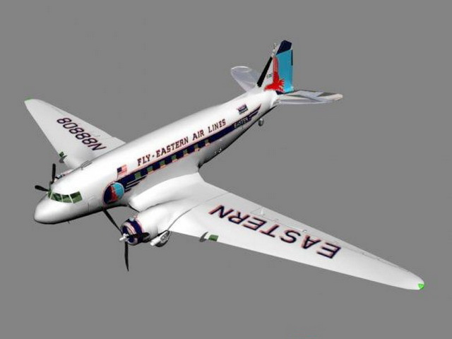 DC-3 Airplane 3d model