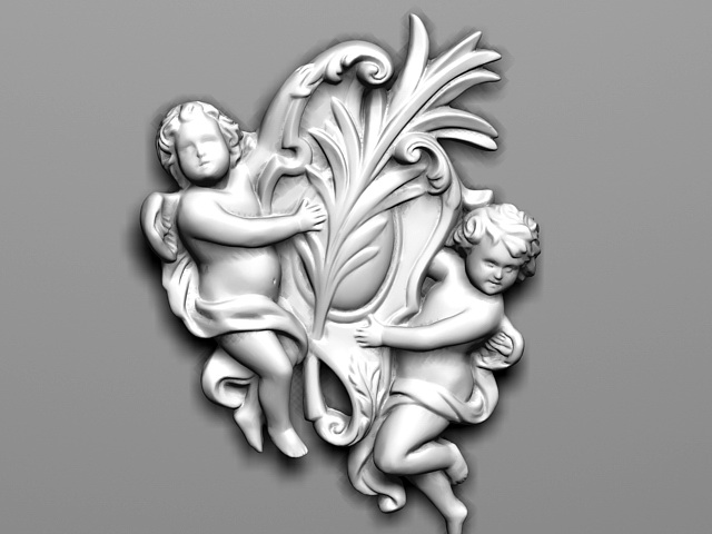 Angel Relief Wall Sculpture 3d model