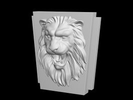 Lion Face Relief Sculpture 3d model