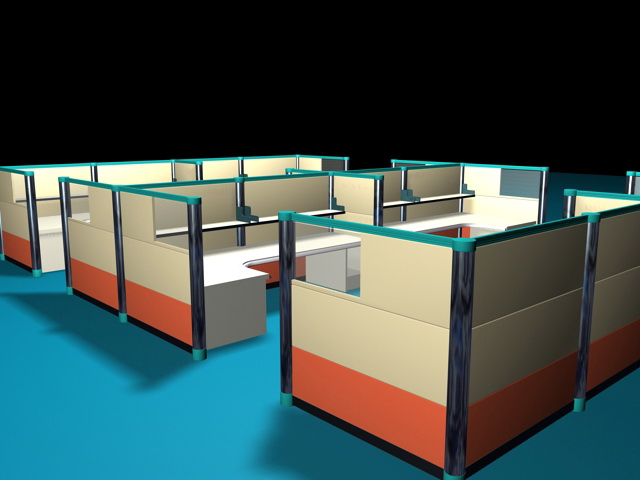 Contemporary Office Cubicles 3d model