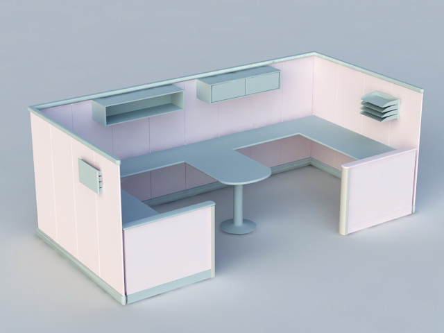 Two Person Cubicle Workstation 3d model