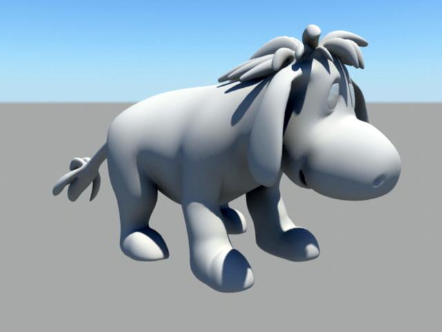 Cute Cartoon Donkey 3d model