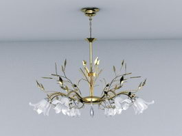 Gold Leaf Crystal Chandelier 3d model