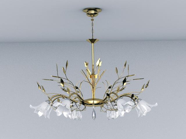Gold Leaf Crystal Chandelier 3d model