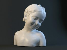 Happy Girl Head Bust Sculpture Figure 3d preview