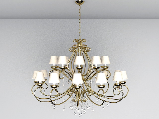 Large Chandelier Lighting 3d model 3ds Max files free download ...