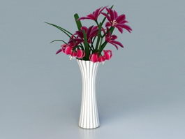 White Vase with Red Flowers 3d model