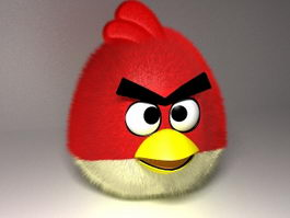 Red Angry Bird Plush Toy 3d model
