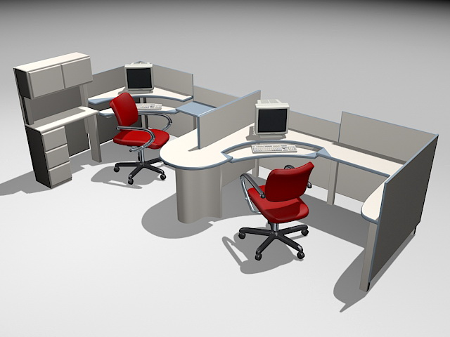 Ordinaire 3D Model Of 2 Person Office Workstations With Red Chairs And Computer.  Available 3d Model Format: .max (Autodesk 3ds Max) Texture Format: Gif