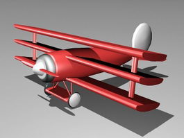Cartoon Red Biplane 3d model