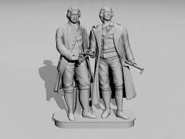 Goethe Schiller Monument 3d model