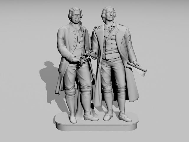 Goethe Schiller Monument 3d model rendered image