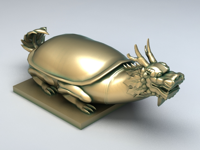 Chinese Mythical Turtle Statue 3d model rendered image