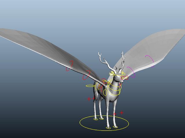 Flying Deer Rig 3d model rendered image