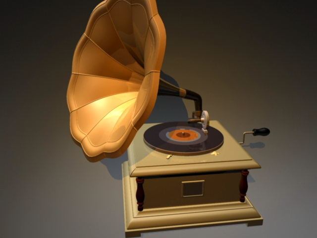 Gramophone Record Player 3d model rendered image