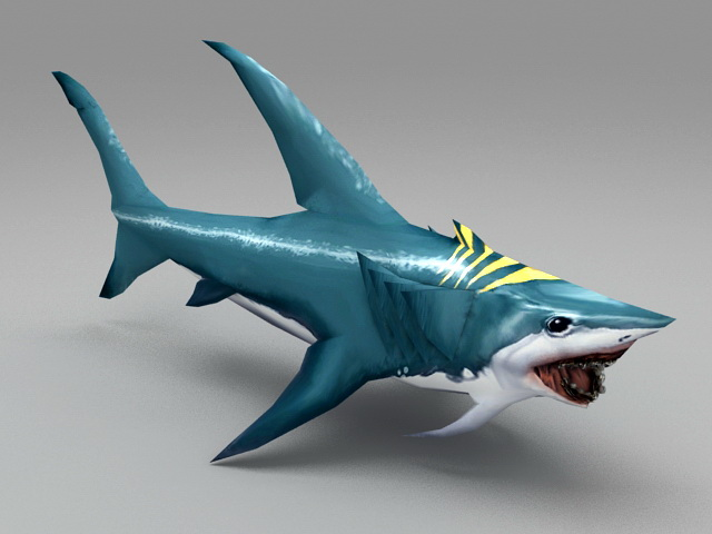 Blue Shark 3d model rendered image