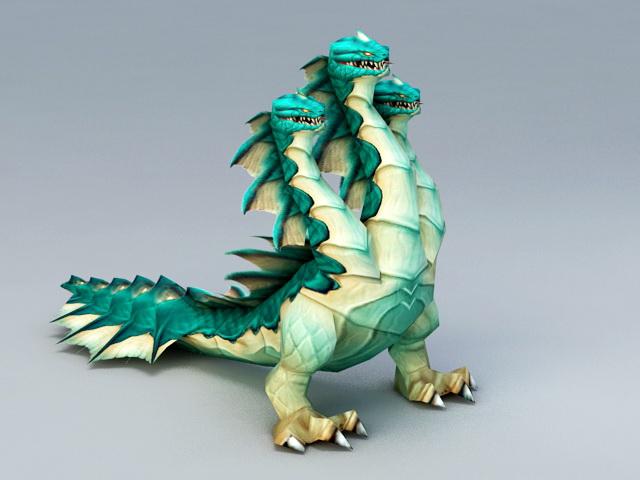 Three Headed Hydra 3d model rendered image