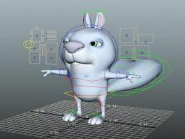 Blue Squirrel Rig 3d model