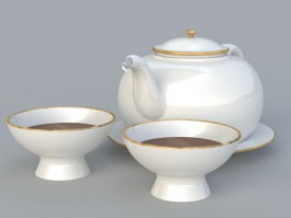 English Porcelain Tea Set 3d model