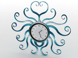 Blue Metal Wall Clock 3d model