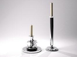 Silver Candlesticks 3d model