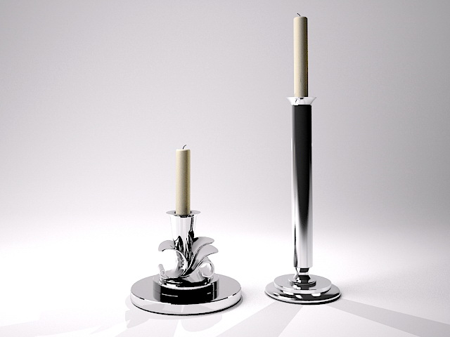 Silver Candlesticks 3d model rendered image