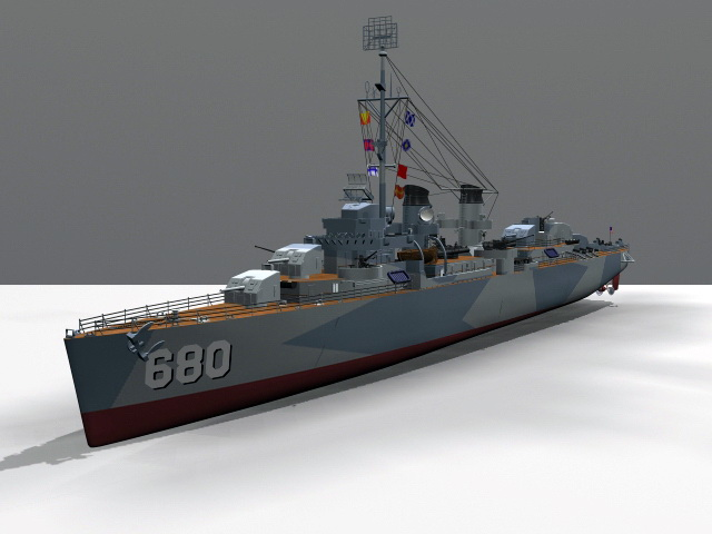 Fletcher Class Destroyer 3d model rendered image