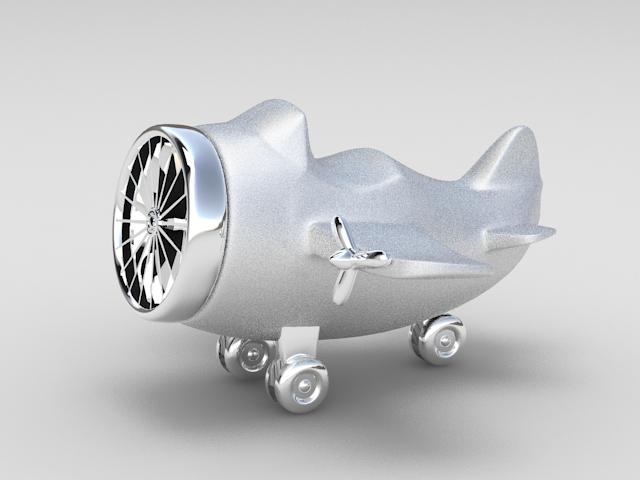 Metal Airplane Ornament 3d model rendered image