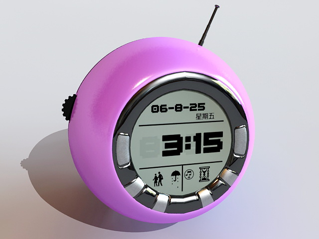 Purple Digital Alarm Clock 3d model rendered image