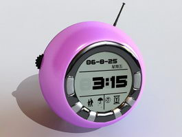Purple Digital Alarm Clock 3d model
