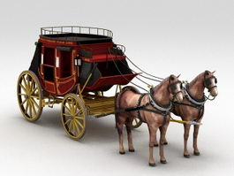 Coach Carriage with Horse 3d model