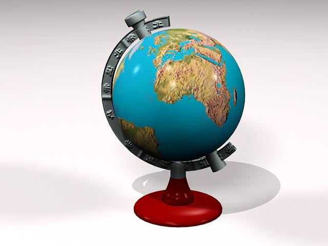 Old Terrestrial Globe 3d model rendered image