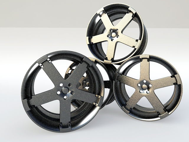 Chrome Car Rims 3d model rendered image