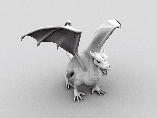 Dragon Statue 3d model rendered image