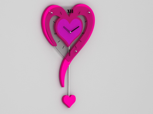 Heart Shaped Wall Clock 3d model rendered image