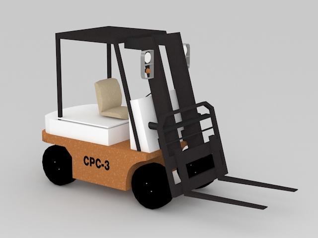 Forklift Truck 3d model rendered image